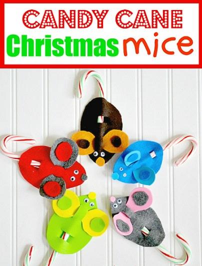 manualidades de navidad; ratones de fieltro