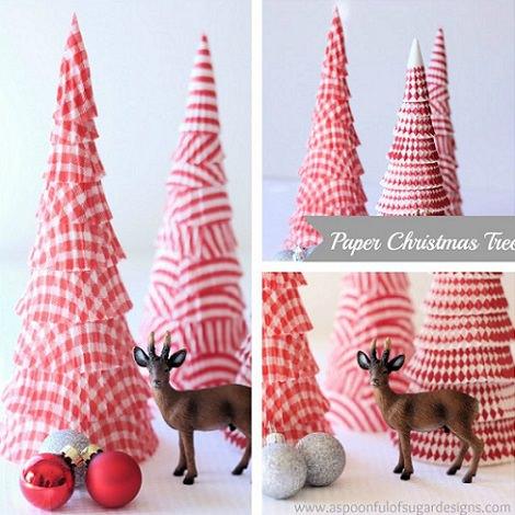 árbol de navidad casero de papel con moldes de magdalenas