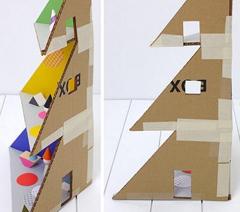 casita de muñecas de cartón pegar paredes