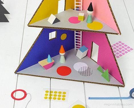 decorar casita de muñecas de cartón casera