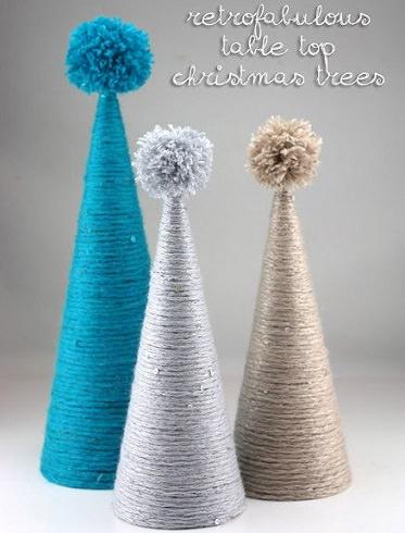 arbol navidad casero con lana