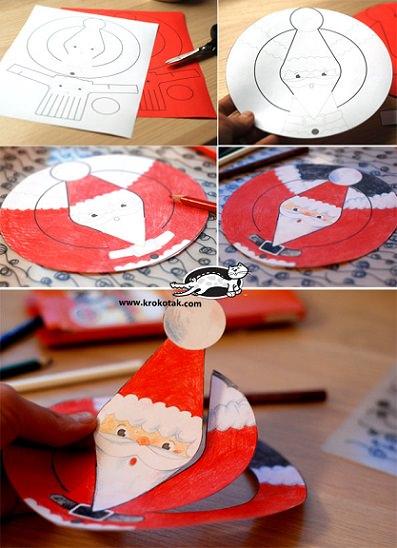 como hacer un papá noel de papel para decorar plantilla