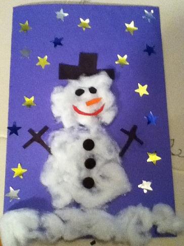 Ideas de tarjetas de Navidad caseras muneco nieve
