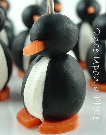 canapés originales navidad 3013 pingüinos de aceituna