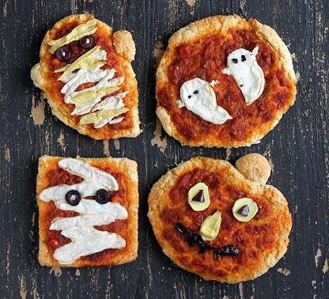 pizza de halloween para hacer con los niños sombreros