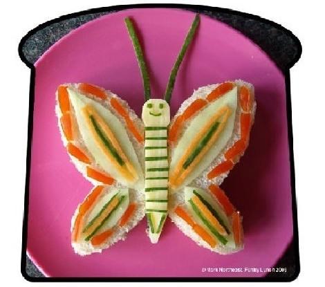 sandwich con forma de mariposa
