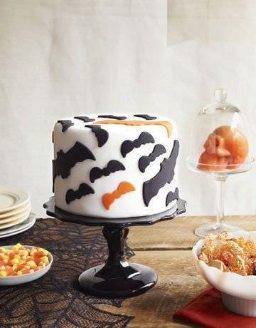 tartas originales para Halloween con murcielagos